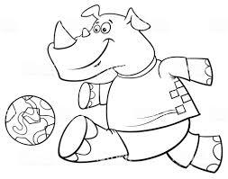 サイ サッカー プレーヤー キャラクター塗り絵 お絵かきのベクター
