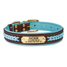 leather dog collar personalized nameplate laser engraved braided collars soft padded