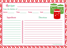 Christmas Recipe Card Christmas Recipe Card Printable With Red Snowflakes Background 5 X 7
