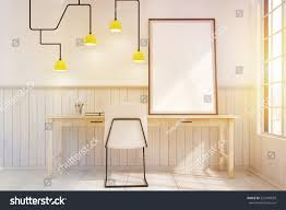 futuristic home office. Home Office Interior With A Futuristic Lamp, Framed Poster On The Desk And