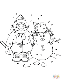 Small Picture Kid with Snowman coloring page Free Printable Coloring Pages
