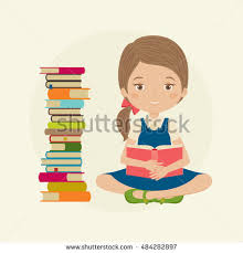 little reading a book next to a pile of books holding a book