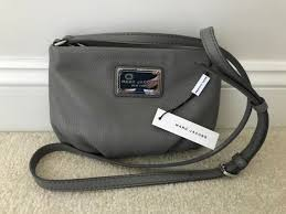 marc jacobs classic leather cross shoulder bag purse grey gray
