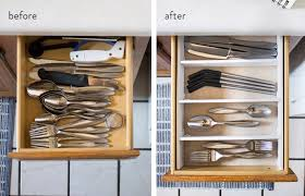 before and after organizing utensil drawer