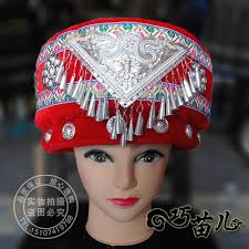 Tujia <b>Miao minority hat</b> with Hmong silver decoration <b>Chinese</b> folk ...