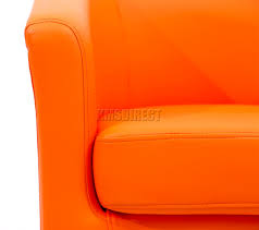 sentinel foxhunter modern tub chair armchair pu faux leather chrome leg dining orange new