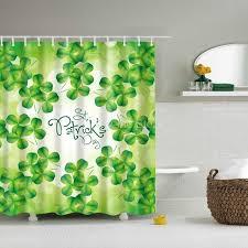 custom shower curtain green clover character pattern design bathroom waterproof mildewproof polyester fabric 12 hooks shower curtains