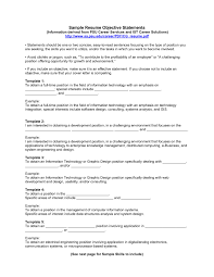 Examples Of Objectives In Resumes Free Resume Templates