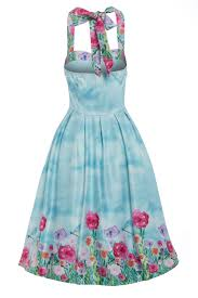 Lindy Bop Size Chart Carola Blue Blossom Halter Neck Swing Dress