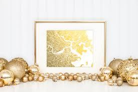 Etsy Art Boston Map Gold Foil Print Boston Wall Art Gold Foil Map