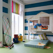Playroom with den and fun striped walls
