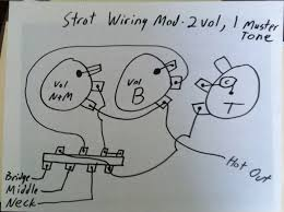 strat wiring mod 2 volumes 1 tone telecaster guitar forum this is a revised schematic for independent volume controls i still only show the hot wires ground wires are grounded to the bottom of the pots and all