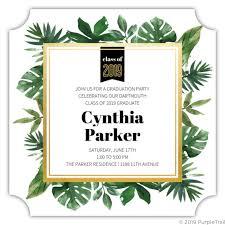 Tropical Greenery Watercolor Online Graduation Invitation