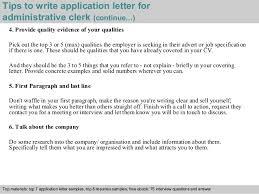 Cover Letter For Admin Clerk Administrative Clerk Application Letter