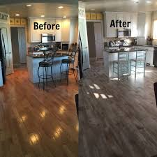 from oak wood flooring to wood looking tile in the kitchen it doesn t