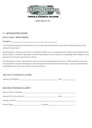 Insurance Release Form Template Waiver Of Liability Sample Sports ...