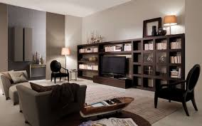 Modular Living Room Cabinets Modern Living Room With Fabric Sofa Glass Cabinet And Staircase