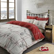 stag deer duvet cover with pillow case tartan check bedding set red