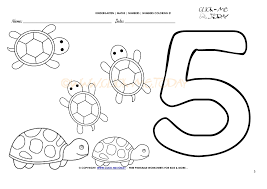 Number seven and smiling faces. Number Coloring Pages Number 5