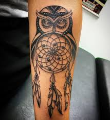 Dream Catcher Tattoo On Forearm Delectable Black Ink Owl Dreamcatcher Tattoo Design For Forearm