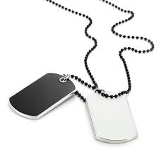 urban jewelry army style 2pcs dog tag pendant mens necklace chain with branded gift box com