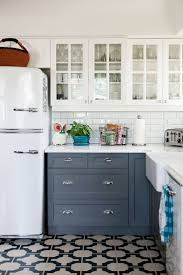 Kitchen With White Cabinets Gray Cabinets Patterned Tile White