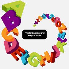 colorful 3d alphabet letters vector background lack table veneer