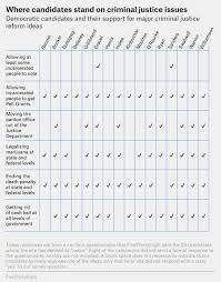 Democratic Candidate Comparison Chart Democratic Candidates Answer Yes Or No Questions About