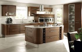Kitchen  Round Stainless Steel Island Kitchen Hood With Brown - Lacquered kitchen cabinets