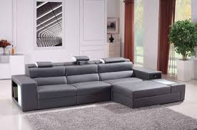 Sectional Sofas Living Room Polaris Mini Contemporary Grey Bonded Leather Sectional Sofa