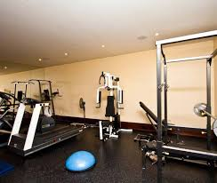 Interior:Exquisite Basement Gym Design With Elegant Treadmill And Gym  Weight Machine Idea Modern Basement