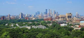 the minneapolis skyline seen from the prospect park water tower in july 2016