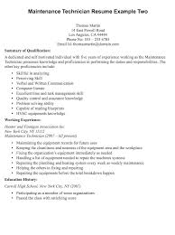 maintenance technician resume sample maintenance resume samples
