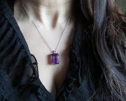 amethyst necklace emerald cut amethyst necklace sterling silver amethyst necklace large amethyst pendant february birthstone