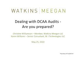 Dcaa Organization Chart Watkins Meegan Presents Dealing With Dcaa Audits