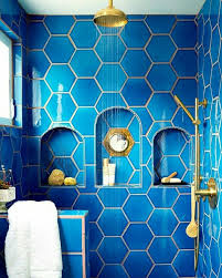 Contemporary Blue Tiles Bathroom And Gold Looks Like The Perfect Decorating Ideas
