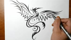 Drawings Of Phoenix How To Draw A Phoenix Bird Tribal Tattoo Design Style Youtube