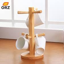 orz tree shape wood coffee tea cup storage holder stand kitchen mug hanging display rack drinkware