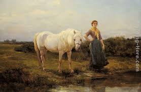 heywood hardy noonday taking a horse to water