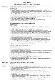 Senior Manufacturing Technician Resume Samples Velvet Jobs