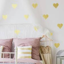 pink heart wall decals rose gold dots