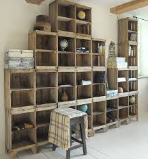 build a shelving unit with a wall of old crates