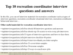 recreation coordinator cover letter top 10 recreation coordinator interview questions and answers