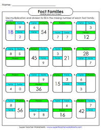 Fact Family Worksheets Multiplication And Division