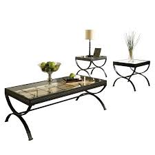 glass coffee table set unique steve silver emerson rectangle glass top 3 piece coffee