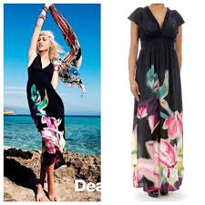 Desigual Dress Size Chart Desigual Black Sindi Floral Bohemian V Neck Long Casual Maxi Dress Size 8 M