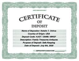 Deposit Templates Download Certificate Of Deposit Template Make Your Own