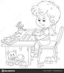 Klein Meisje Haar Huiswerk Een Werkboek Met Monsters Van Het