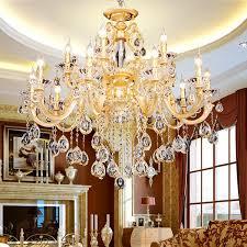 gold arms big led chandelier large crystal chandelier luminaria res hanging light 15 lights hotel villa modern luxury chandelier lamps pendant light