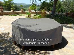 premium tight weave 104 dia x31 h patio round oval table and chairs cover